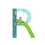 Alphabet Letter R Cartoon Flat Style for Children Fun Alphabet Letter for Kids Boys and Girls With