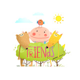 Baby Animals and Kid Childish Funny Friends Cartoon with Sign  Child Kid and Fox  Bear Bird Cute F