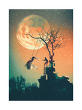 Halloween Night Background with Man Pushing Woman on Swing Illustration Painting
