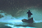 Man Rowing a Boat in the Sea under Beautiful Sky with Stars Illustration Painting