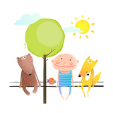 Friendly Animals and Kid Cute Funny Friends Cartoon Sitting High Child Kid and Fox  Bear Colorful
