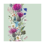 Vintage Vertical Watercolor Herbal Seamless Border with Blooming Meadow Flowers-Thistles Dandelions