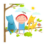 Baby Animals and Kid Childish Funny Friends Cartoon  Child Kid and Fox  Bear Cute Friendship Brigh