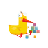 Kids Duck Playing Cubes Funny Toy Yellow Duckling Birdie Cartoon Funny Childish Adorable Illustrat