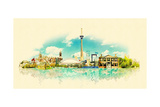 High Resolution Watercolor Panoramic City TORONTO City Illustration