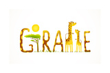 African Giraffe Animals Fun Lettering Landscape Brightly Colored Childish Cartoon Sign Vector Ill