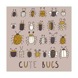 Cute Bugs Ģ'' Vector Set in Retro Style