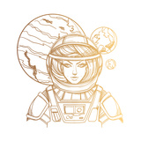 Girl in a Spacesuit for T-Shirt Design or Print Woman Astronaut Cosmic Beauty Martian  Alien Out