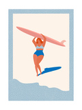 Art Deco Poster with Surfer Girl Caring Longboard on the Beach Beach Lifestyle Poster in Retro Sty