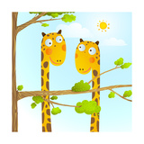 Fun Cartoon Baby Giraffe Animals in Wild for Kids Drawing Funny Friends Giraffes Cartoon in Nature