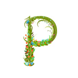Letter P Floral Latin Decorative Character Alphabet Lettering Sign Colorful Hand Drawn Blooming Fl