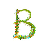 Flower Calligraphy Floral Elegant Decorative Alphabet Letter B Intricate Sign Floral Summer Color