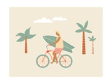 Surfer Bicycle Rider with Surfboard on the Beach Funny Cartoon Character Young Man Riding a Bike