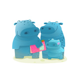 Hippopotamus Family with Book Mother Father and Child Happy Fun Watercolor Style Zoo Animal Paren