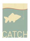 Vector Fish and Fish Hook - Retro Illustration