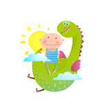 Baby and Dragon Cloud Sun Flying Happy Friends Baby and Dragon Friendship Animal Funny Monster  Y