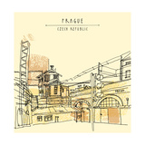 Vector Hand Drawn Artistic Illustration of Old Industrial Buildings near Bus Station in Prague  Cze