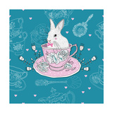 Tea Cups  Teapot  Teaspoons  Rabbit Easter Seamless Pattern