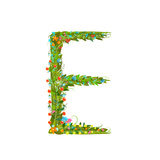 Flower Blossom Decorative Botanical Elegant Alphabet Letter E Flower ABC Sign E Floral Summer Col