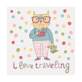 Concept Cat Hipster in Cartoon Funny Style Vector Childish Card with Funny Cat Travel Concept in