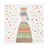 Concept Hipster Cat with Camera in Suitcases in Vector Cute Funny Cartoon Illustration in Vintage