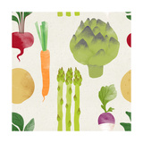 Cute Seamless Vegetable Pattern on Paper Background Fruity Patterns Collection