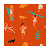 Retro Beach Summer Poster Surfing Seamless Pattern with Girls Carrying Surfboard and a Guy Playing