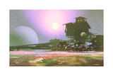 Factory and Industry in Flower Fields Sci-Fi Scene Illustration Painting