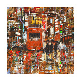 Seamless Pattern with Colorful Urban City Abstract Painting Illustration