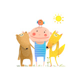 Animals Friends Fox Bear Bird and Kid Childish Funny Portrait in Nature Cartoon Kids Smiling Cute