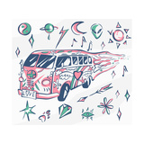 Love Bus Vector Poster Hippie Car  Mini Van with Different Symbols Retro Colors Psychedelic Conc