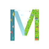 Letter M of the Latin Alphabet Funny Cartoon ABC for Children for Children Boys and Girls with Cit