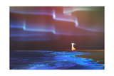 Woman Standing on Beach Glows with Northern Lights Aurora Borealis Above Illustration Painting