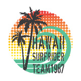 ''Hawaii Surfrider Team'' Artwork for T-Shirt  PosterGrunge and Halftone Textures