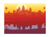 Angkor Wat in Sunset (Vector) - Illustrated Scenery of an Ancient Ruin