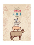 Farm Shop Vintage Poster Retro Butcher Shop Farm Animals Livestock Farming Poster Hand Drawn Ink Ve