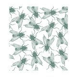 Seamless Vector Flies Pattern in Vintage Engraved Style Isolated  Grouped  Transparent Background