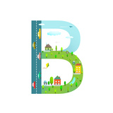 Letter B of the Latin Alphabet for Kids Fun Alphabet Letter for Children Boys and Girls with City