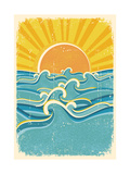 Sea Waves and Yellow Sun on Old Paper TextureVintage Illustration