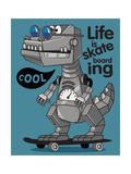 Skater  Robot Dino Vector Design