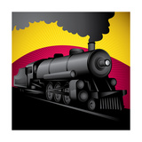 Illustration of Old Stylized Locomotive Vector Illustration
