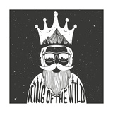 Vector Hand Drawn Style Typography Poster A Man with Crown  Mountains and Trees Inside King of Th