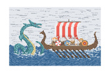 Vikings Battle with the Sea Dragon  Illustration in Pixel Art Style