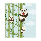 Kawaii Bears in Forest Funny Kawaii Panda Bears in Trees Vector Illustration Eps8