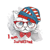 Hand Draw Cat in a USA Hat Vector Illustration