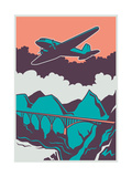 Retro Poster with Airplane Vector Illustration