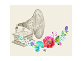 Vintage Gramophone  Record Player Background with Floral Ornament  Beautiful Illustration with Wate