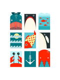 Flat Sea and Fish Rectangular Nautical Set Marine Design Collection Vector Layered Eps8 Illustrat