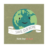 Vintage Earth Day Poster Cartoon Earth Illustration Text on White Ribbon on Grunge Texture Grun