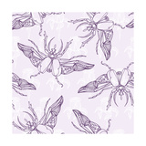 Hand Drawn Beetles Seamless Pattern with Flowers Insect Collection Can Be Used for for Postcard